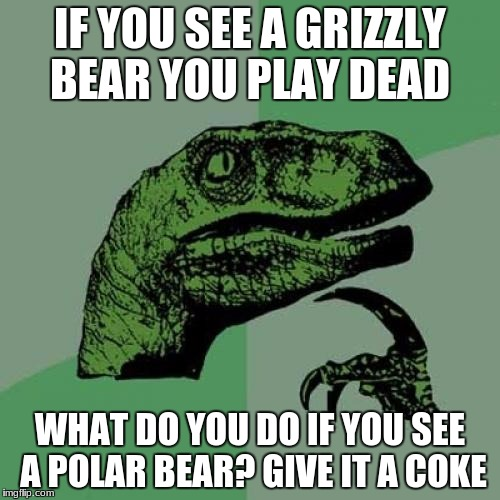 Philosoraptor Meme | IF YOU SEE A GRIZZLY BEAR YOU PLAY DEAD WHAT DO YOU DO IF YOU SEE A POLAR BEAR? GIVE IT A COKE | image tagged in memes,philosoraptor | made w/ Imgflip meme maker