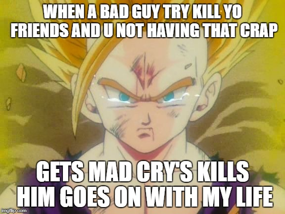 sad Gohan ssj2 | WHEN A BAD GUY TRY KILL YO FRIENDS AND U NOT HAVING THAT CRAP GETS MAD CRY'S KILLS HIM GOES ON WITH MY LIFE | image tagged in sad gohan ssj2 | made w/ Imgflip meme maker