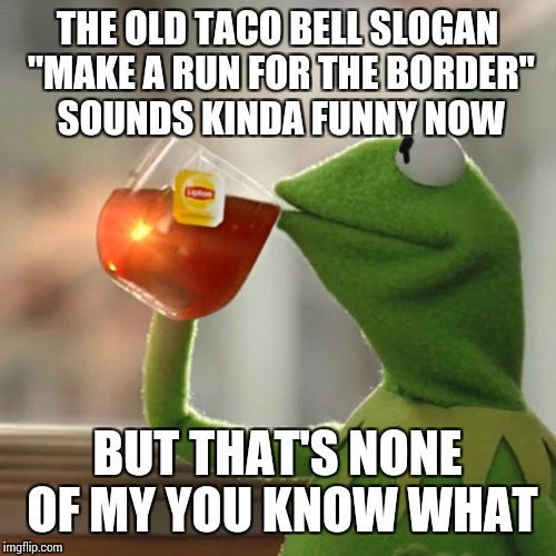 "But Thats None Of My Business Meme | THE OLD TACO BELL SLOGAN ""MAKE A RUN FOR THE BORDER"" SOUNDS KINDA FUNNY NOW BUT THAT'S NONE OF MY YOU KNOW WHAT 