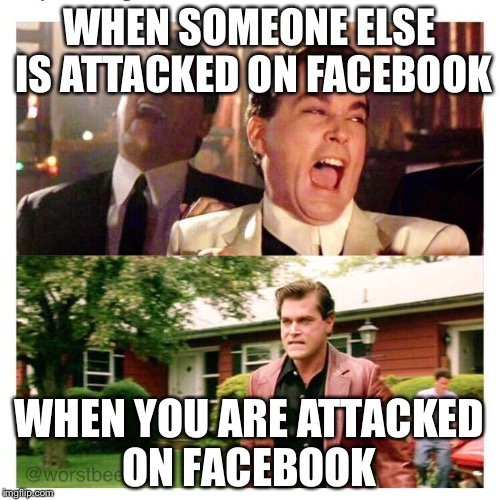 Social media  | WHEN SOMEONE ELSE IS ATTACKED ON FACEBOOK WHEN YOU ARE ATTACKED ON FACEBOOK | image tagged in social media followers,facebook,trolling,memes | made w/ Imgflip meme maker