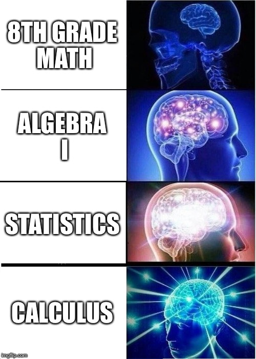 Expanding Brain Meme | 8TH GRADE MATH ALGEBRA I STATISTICS CALCULUS | image tagged in memes,expanding brain | made w/ Imgflip meme maker