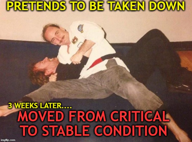 My karate instructor once spared with Chuck Norris  | PRETENDS TO BE TAKEN DOWN MOVED FROM CRITICAL TO STABLE CONDITION 3 WEEKS LATER.... | image tagged in chuck norris,chuck norris aftermath,memes,funny,everybody is kung fu fighting | made w/ Imgflip meme maker