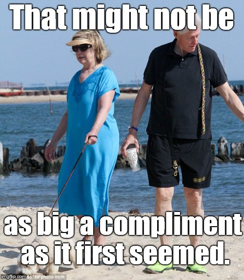 That might not be as big a compliment as it first seemed. | made w/ Imgflip meme maker