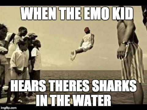 dolphins swimming jumping dive | WHEN THE EMO KID HEARS THERES SHARKS IN THE WATER | image tagged in dolphins swimming jumping dive,scumbag | made w/ Imgflip meme maker