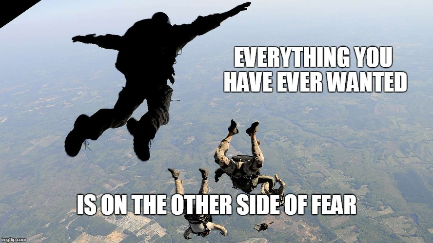 EVERYTHING YOU HAVE EVER WANTED IS ON THE OTHER SIDE OF FEAR | image tagged in fear | made w/ Imgflip meme maker