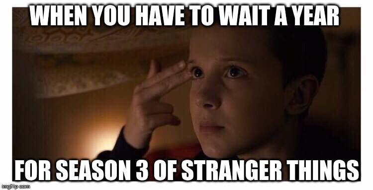 WHEN YOU HAVE TO WAIT A YEAR; FOR SEASON 3 OF STRANGER THINGS | image tagged in stranger things 2 | made w/ Imgflip meme maker