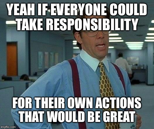 That Would Be Great Meme | YEAH IF EVERYONE COULD TAKE RESPONSIBILITY FOR THEIR OWN ACTIONS THAT WOULD BE GREAT | image tagged in memes,that would be great | made w/ Imgflip meme maker