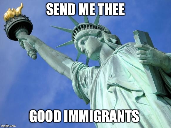 SEND ME THEE GOOD IMMIGRANTS | image tagged in statue of liberty | made w/ Imgflip meme maker