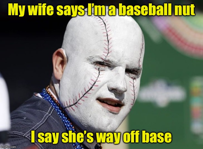 Baseball Fan Pun | My wife says I'm a baseball nut I say she's way off base | image tagged in baseball fan,memes,nuts,sports fans | made w/ Imgflip meme maker