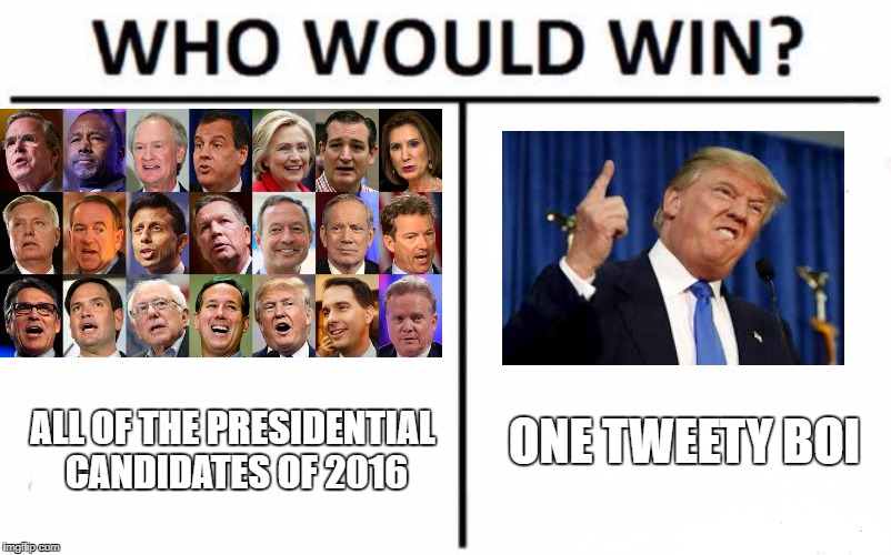 Who would win? | ALL OF THE PRESIDENTIAL CANDIDATES OF 2016 ONE TWEETY BOI | image tagged in donald trump,presidential debate,who would win | made w/ Imgflip meme maker