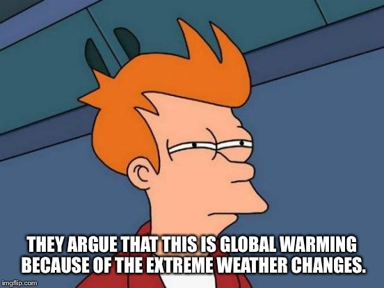 Futurama Fry Meme | THEY ARGUE THAT THIS IS GLOBAL WARMING BECAUSE OF THE EXTREME WEATHER CHANGES. | image tagged in memes,futurama fry | made w/ Imgflip meme maker