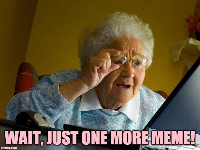 Grandma Finds The Internet Meme | WAIT, JUST ONE MORE MEME! | image tagged in memes,grandma finds the internet | made w/ Imgflip meme maker