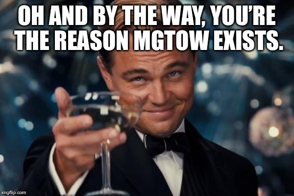 Leonardo Dicaprio Cheers Meme | OH AND BY THE WAY, YOU'RE THE REASON MGTOW EXISTS. | image tagged in memes,leonardo dicaprio cheers | made w/ Imgflip meme maker