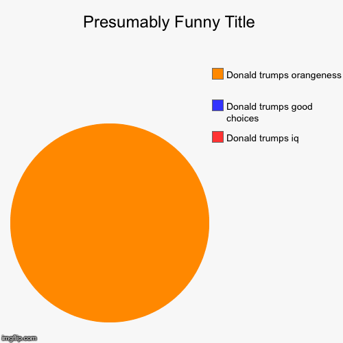 Donald trumps iq , Donald trumps good choices , Donald trumps orangeness | image tagged in funny,pie charts | made w/ Imgflip pie chart maker