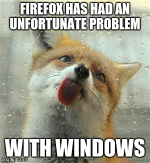 What I see now. | FIREFOX HAS HAD AN UNFORTUNATE PROBLEM WITH WINDOWS | image tagged in fox tongue | made w/ Imgflip meme maker