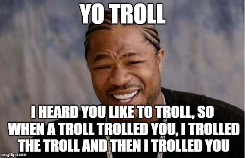 A trolly new year to all the trolls out there! | YO TROLL I HEARD YOU LIKE TO TROLL, SO WHEN A TROLL TROLLED YOU, I TROLLED THE TROLL AND THEN I TROLLED YOU | image tagged in memes,yo dawg heard you,trolling | made w/ Imgflip meme maker