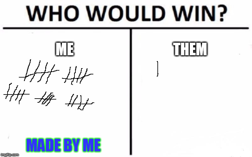 It is, and always will be ME!!!!! | ME THEM MADE BY ME | image tagged in memes,who would win,it is what it is | made w/ Imgflip meme maker