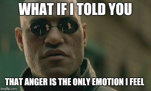 Matrix Morpheus Meme | WHAT IF I TOLD YOU THAT ANGER IS THE ONLY EMOTION I FEEL | image tagged in memes,matrix morpheus | made w/ Imgflip meme maker