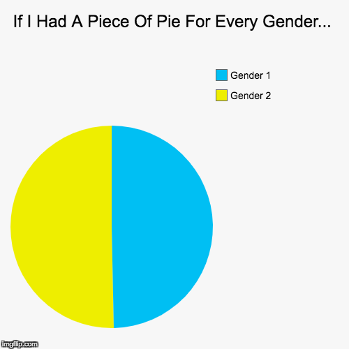 If I Had A Piece Of Pie For Every Gender... | Gender 2, Gender 1 | image tagged in funny,pie charts | made w/ Imgflip pie chart maker