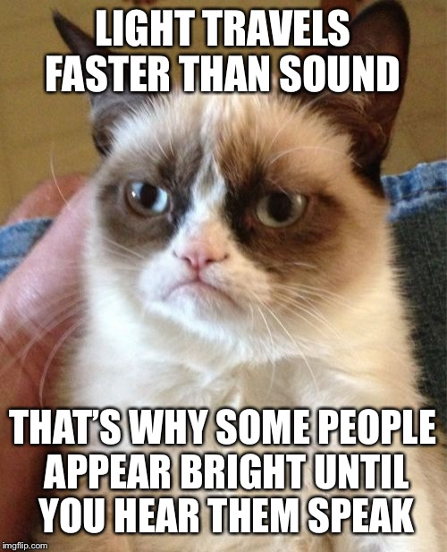 Grumpy Cat Meme | LIGHT TRAVELS FASTER THAN SOUND THAT'S WHY SOME PEOPLE APPEAR BRIGHT UNTIL YOU HEAR THEM SPEAK | image tagged in memes,grumpy cat | made w/ Imgflip meme maker