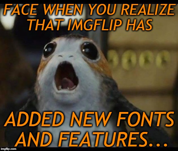Porg |  FACE WHEN YOU REALIZE THAT IMGFLIP HAS; ADDED NEW FONTS AND FEATURES... | image tagged in porg | made w/ Imgflip meme maker