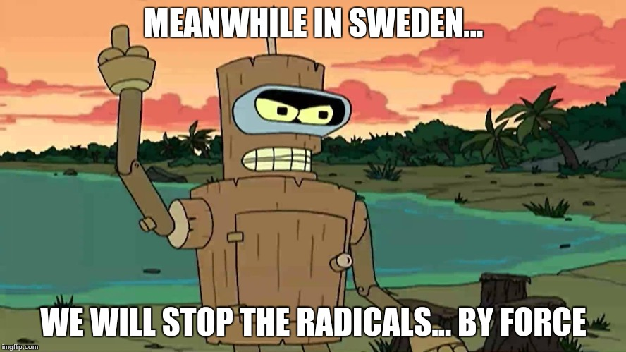 Bender Peace By Force | MEANWHILE IN SWEDEN... WE WILL STOP THE RADICALS... BY FORCE | image tagged in bender peace by force | made w/ Imgflip meme maker