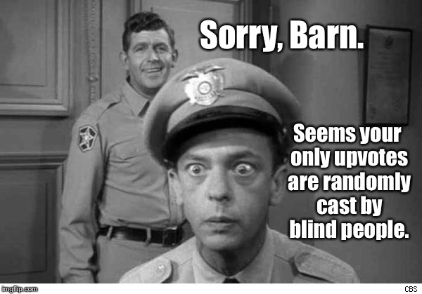 Sorry, Barn. Seems your only upvotes are randomly cast by blind people. | made w/ Imgflip meme maker