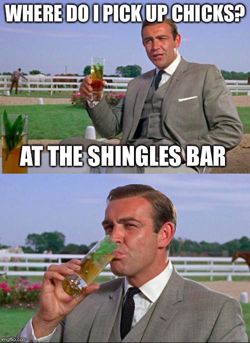 WHERE DO I PICK UP CHICKS? AT THE SHINGLES BAR | made w/ Imgflip meme maker