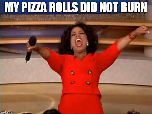 Oprah You Get A Meme | MY PIZZA ROLLS DID NOT BURN | image tagged in memes,oprah you get a | made w/ Imgflip meme maker