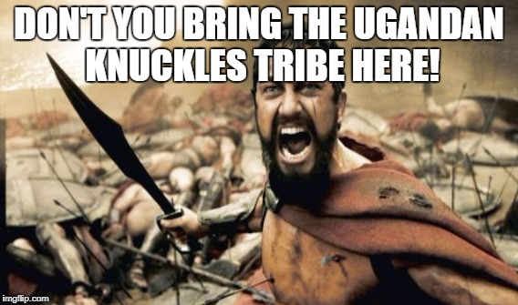 NOOOOOO!!!! | DON'T YOU BRING THE UGANDAN KNUCKLES TRIBE HERE! | image tagged in 300,uganda,knuckles,tribe,no,do u know the way | made w/ Imgflip meme maker