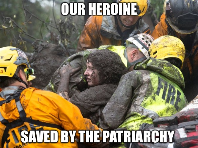 OUR HEROINE SAVED BY THE PATRIARCHY | image tagged in patriarchy | made w/ Imgflip meme maker