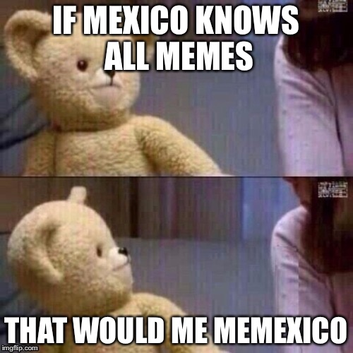 Memexico | IF MEXICO KNOWS ALL MEMES THAT WOULD ME MEMEXICO | image tagged in what teddy bear | made w/ Imgflip meme maker