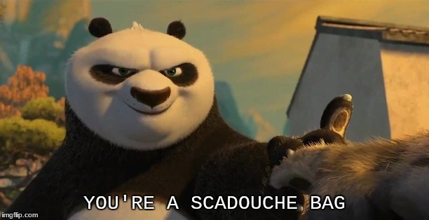 YOU'RE A SCADOUCHE BAG | image tagged in funny memes | made w/ Imgflip meme maker