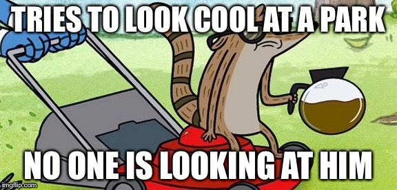 Raccoons are foons that die in typhoons. | TRIES TO LOOK COOL AT A PARK NO ONE IS LOOKING AT HIM | image tagged in memes,regular show,cool and stupid,epic fail | made w/ Imgflip meme maker