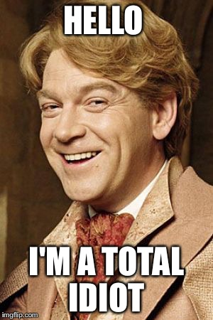 HELLO I'M A TOTAL IDIOT | image tagged in gilderoy lockhart | made w/ Imgflip meme maker