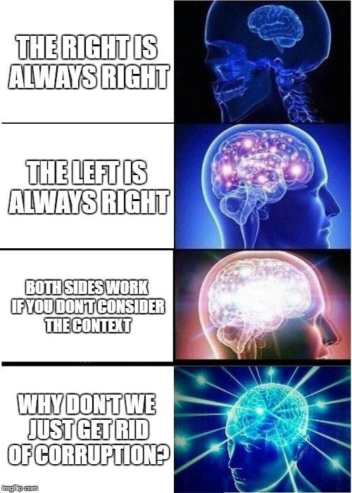 Your mind on politics | THE RIGHT IS ALWAYS RIGHT THE LEFT IS ALWAYS RIGHT BOTH SIDES WORK IF YOU DON'T CONSIDER THE CONTEXT WHY DON'T WE JUST GET RID OF CORRUPTION | image tagged in memes,expanding brain,politics,left wing,right wing,independent | made w/ Imgflip meme maker