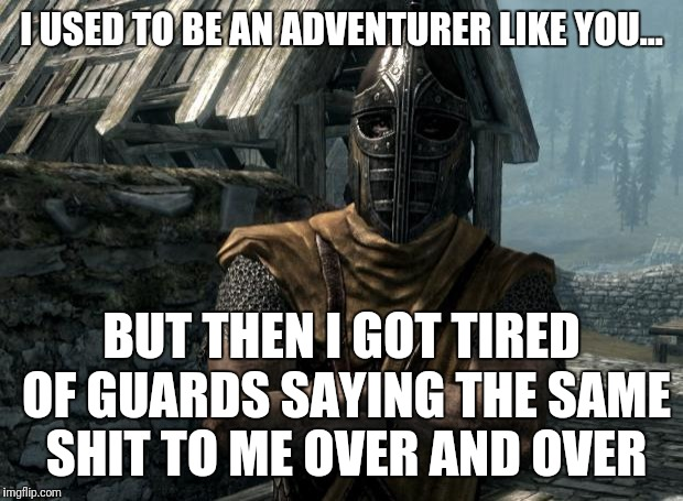 Skyrim guards be like | I USED TO BE AN ADVENTURER LIKE YOU... BUT THEN I GOT TIRED OF GUARDS SAYING THE SAME SHIT TO ME OVER AND OVER | image tagged in skyrim guards be like | made w/ Imgflip meme maker