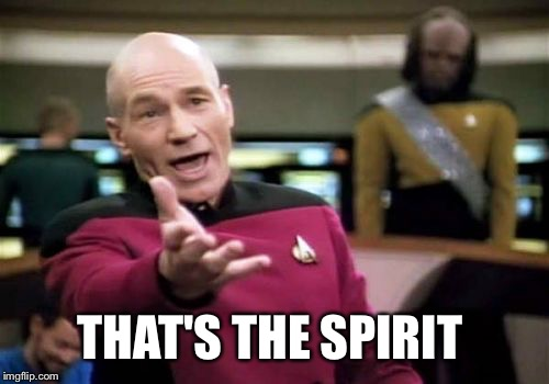 Picard Wtf Meme | THAT'S THE SPIRIT | image tagged in memes,picard wtf | made w/ Imgflip meme maker