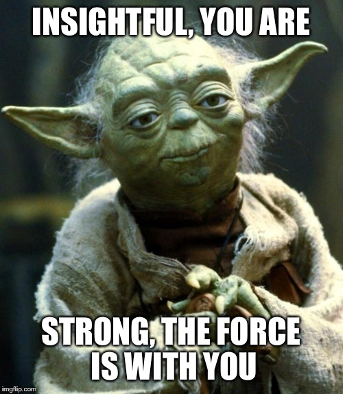 Star Wars Yoda Meme | INSIGHTFUL, YOU ARE STRONG, THE FORCE IS WITH YOU | image tagged in memes,star wars yoda | made w/ Imgflip meme maker