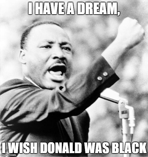 Martin Luther King Jr. | I HAVE A DREAM, I WISH DONALD WAS BLACK | image tagged in martin luther king jr | made w/ Imgflip meme maker