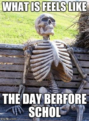 Waiting Skeleton Meme | WHAT IS FEELS LIKE THE DAY BERFORE SCHOL | image tagged in memes,waiting skeleton | made w/ Imgflip meme maker