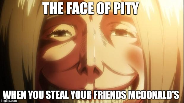 Attack on titan | THE FACE OF PITY WHEN YOU STEAL YOUR FRIENDS MCDONALD'S | image tagged in attack on titan | made w/ Imgflip meme maker