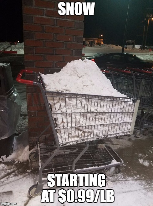 Oh My Gosh! I always wanted to buy snow that is already everywhere! | SNOW STARTING AT $0.99/LB | image tagged in snow,images,funny,memes,sale | made w/ Imgflip meme maker
