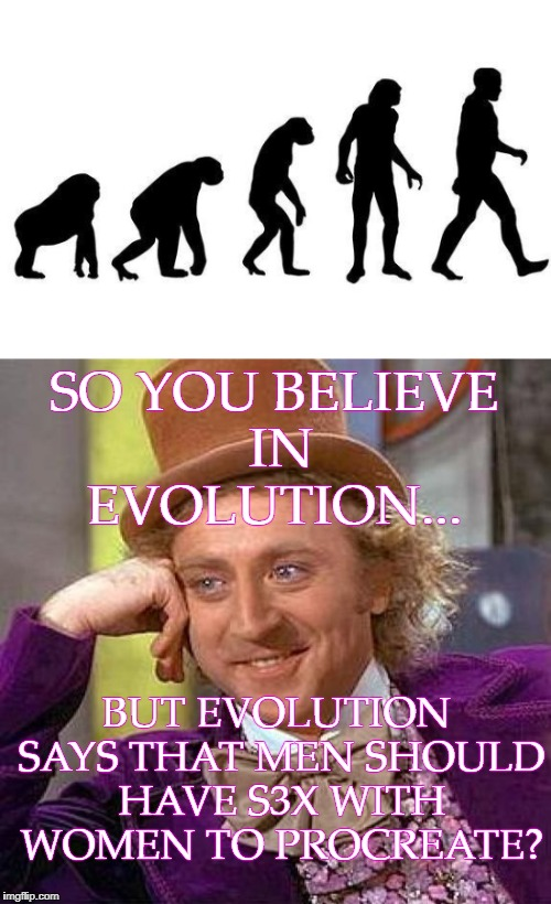 That's how it works right? | SO YOU BELIEVE IN EVOLUTION... BUT EVOLUTION SAYS THAT MEN SHOULD HAVE S3X WITH WOMEN TO PROCREATE? | image tagged in human evolution,creepy condescending wonka,science,memes | made w/ Imgflip meme maker