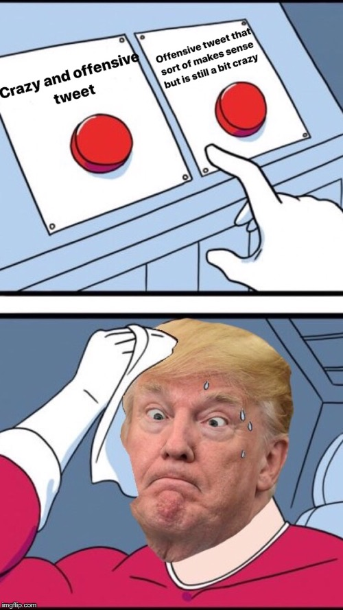 It's not easy being Trump  | Offensive Tweet Crazy Tweet | image tagged in funny memes,trump tweet,crazy,offensive,memes,decisions | made w/ Imgflip meme maker