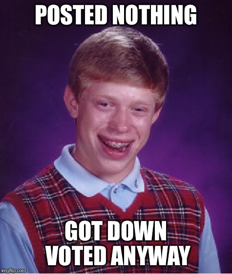 Bad Luck Brian Meme | POSTED NOTHING GOT DOWN VOTED ANYWAY | image tagged in memes,bad luck brian | made w/ Imgflip meme maker