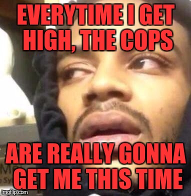 Hits Blunt | EVERYTIME I GET HIGH, THE COPS ARE REALLY GONNA GET ME THIS TIME | image tagged in hits blunt | made w/ Imgflip meme maker