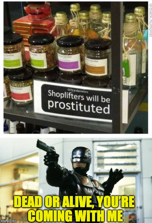 New form of community service? | DEAD OR ALIVE, YOU'RE COMING WITH ME | image tagged in funny signs,robocop,robots | made w/ Imgflip meme maker