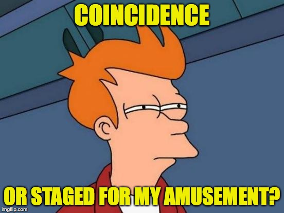 Futurama Fry Meme | COINCIDENCE OR STAGED FOR MY AMUSEMENT? | image tagged in memes,futurama fry | made w/ Imgflip meme maker