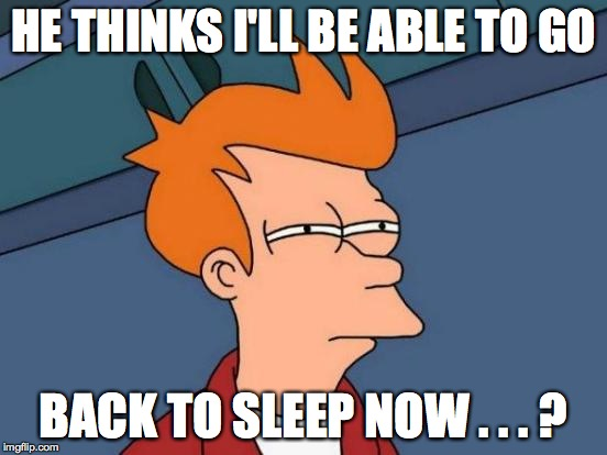 Futurama Fry Meme | HE THINKS I'LL BE ABLE TO GO BACK TO SLEEP NOW . . . ? | image tagged in memes,futurama fry | made w/ Imgflip meme maker